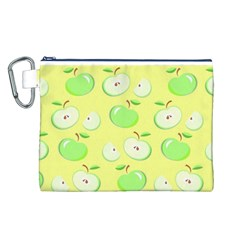 Apples Apple Pattern Vector Green Canvas Cosmetic Bag (l)