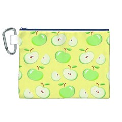 Apples Apple Pattern Vector Green Canvas Cosmetic Bag (xl)