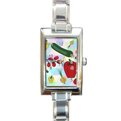 Vegetables Cucumber Tomato Rectangle Italian Charm Watch