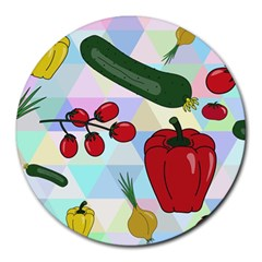 Vegetables Cucumber Tomato Round Mousepads