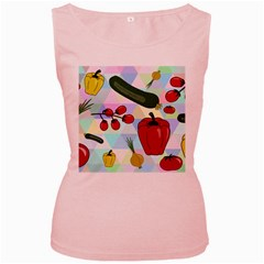 Vegetables Cucumber Tomato Women s Pink Tank Top