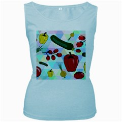 Vegetables Cucumber Tomato Women s Baby Blue Tank Top
