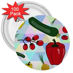 Vegetables Cucumber Tomato 3  Buttons (100 Pack)