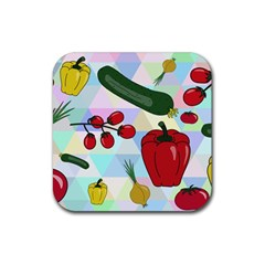 Vegetables Cucumber Tomato Rubber Square Coaster (4 pack)