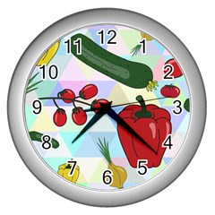 Vegetables Cucumber Tomato Wall Clocks (Silver)