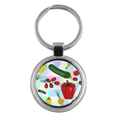 Vegetables Cucumber Tomato Key Chains (round)