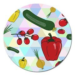 Vegetables Cucumber Tomato Magnet 5  (round)