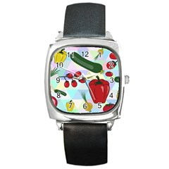 Vegetables Cucumber Tomato Square Metal Watch