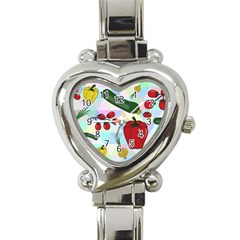 Vegetables Cucumber Tomato Heart Italian Charm Watch