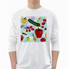 Vegetables Cucumber Tomato White Long Sleeve T-Shirts