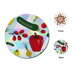 Vegetables Cucumber Tomato Playing Cards (round)