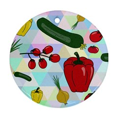 Vegetables Cucumber Tomato Round Ornament (Two Sides)