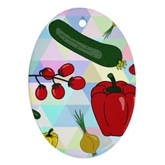 Vegetables Cucumber Tomato Oval Ornament (two Sides)