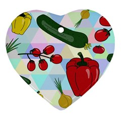 Vegetables Cucumber Tomato Heart Ornament (two Sides)