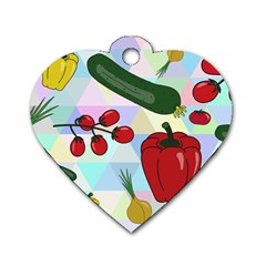 Vegetables Cucumber Tomato Dog Tag Heart (two Sides)