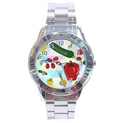 Vegetables Cucumber Tomato Stainless Steel Analogue Watch