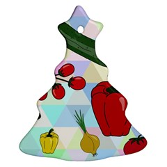 Vegetables Cucumber Tomato Christmas Tree Ornament (two Sides)