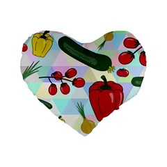 Vegetables Cucumber Tomato Standard 16  Premium Heart Shape Cushions