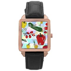 Vegetables Cucumber Tomato Rose Gold Leather Watch
