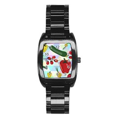 Vegetables Cucumber Tomato Stainless Steel Barrel Watch