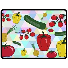 Vegetables Cucumber Tomato Double Sided Fleece Blanket (large)
