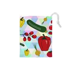 Vegetables Cucumber Tomato Drawstring Pouches (small)