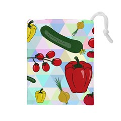 Vegetables Cucumber Tomato Drawstring Pouches (large)