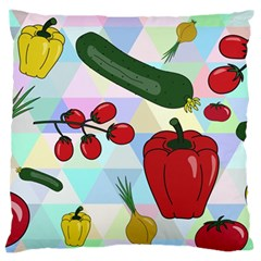 Vegetables Cucumber Tomato Large Flano Cushion Case (two Sides)