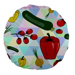 Vegetables Cucumber Tomato Large 18  Premium Flano Round Cushions