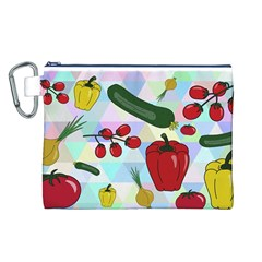 Vegetables Cucumber Tomato Canvas Cosmetic Bag (l)