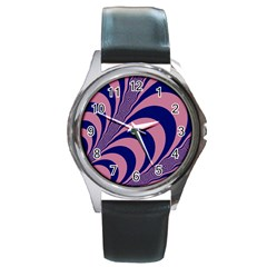 Fractals Vector Background Round Metal Watch