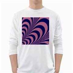 Fractals Vector Background White Long Sleeve T-Shirts
