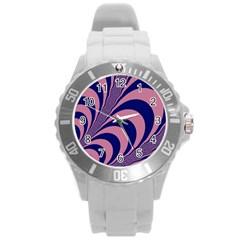 Fractals Vector Background Round Plastic Sport Watch (L)