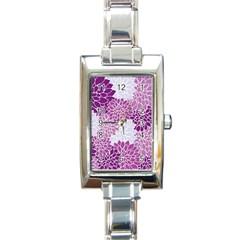 Floral Wallpaper Flowers Dahlia Rectangle Italian Charm Watch