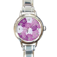 Floral Wallpaper Flowers Dahlia Round Italian Charm Watch