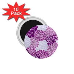 Floral Wallpaper Flowers Dahlia 1 75  Magnets (10 Pack)