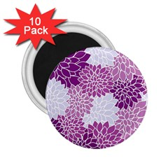 Floral Wallpaper Flowers Dahlia 2 25  Magnets (10 Pack)