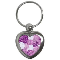Floral Wallpaper Flowers Dahlia Key Chains (heart)