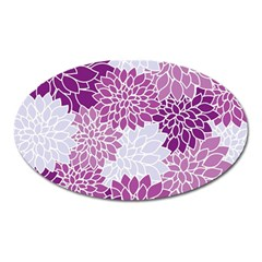 Floral Wallpaper Flowers Dahlia Oval Magnet