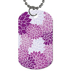 Floral Wallpaper Flowers Dahlia Dog Tag (two Sides)