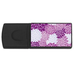 Floral Wallpaper Flowers Dahlia USB Flash Drive Rectangular (1 GB)