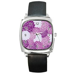 Floral Wallpaper Flowers Dahlia Square Metal Watch