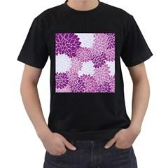 Floral Wallpaper Flowers Dahlia Men s T Shirt (black) (two Sided)