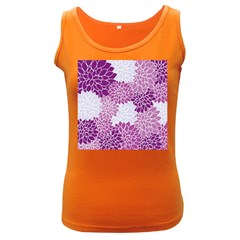 Floral Wallpaper Flowers Dahlia Women s Dark Tank Top