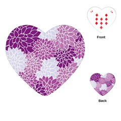 Floral Wallpaper Flowers Dahlia Playing Cards (Heart)