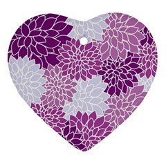 Floral Wallpaper Flowers Dahlia Heart Ornament (two Sides)