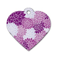 Floral Wallpaper Flowers Dahlia Dog Tag Heart (one Side)