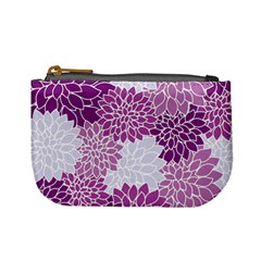 Floral Wallpaper Flowers Dahlia Mini Coin Purses