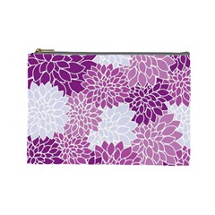 Floral Wallpaper Flowers Dahlia Cosmetic Bag (large)