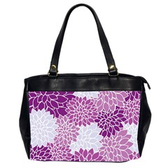 Floral Wallpaper Flowers Dahlia Office Handbags (2 Sides)